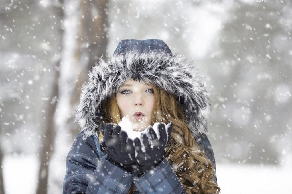 woman, snow, blow